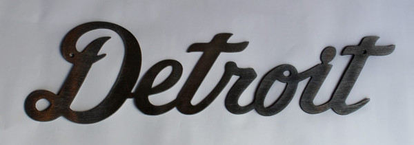 Cursive Detroit Metal Cutout Sign