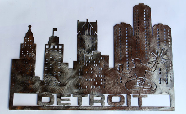 Detroit Cityscape Metal Cutout Sign