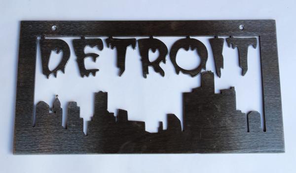 Medium Detroit Cityscape Metal Cutout Sign