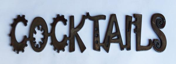 Cocktails Metal Cutout Sign