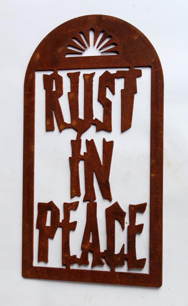 Rust In Peace Rusty Metal Cutout Sign