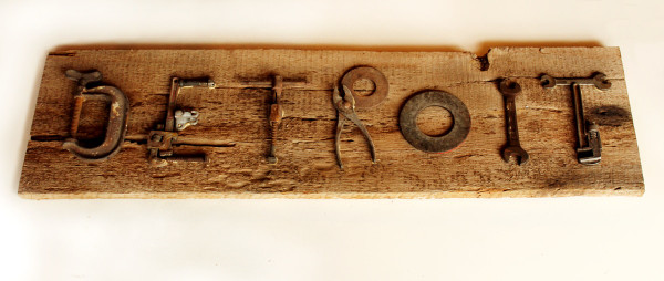 Detroit Sign Made With Vintage Tools and Barnwood