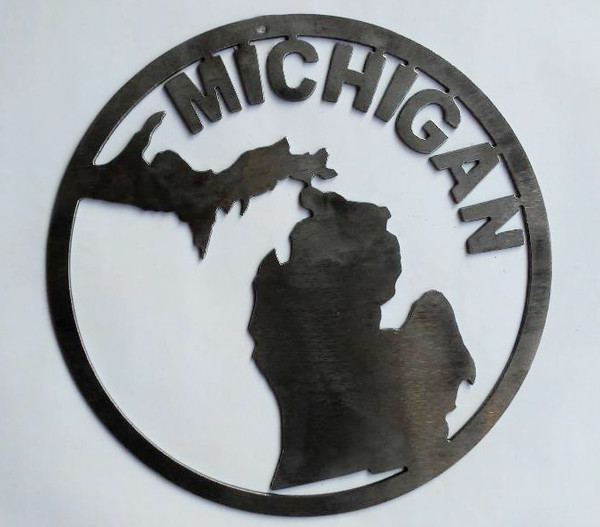 Round Michigan Mitten Metal Cutout Sign