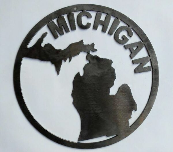 Round Michigan Mitten Metal Cutout Sign