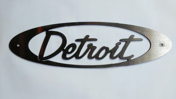 Detroit Script Oval Metal Cutout Sign