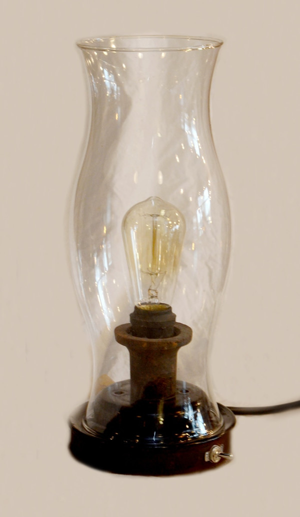 Industrial Lamp with Glass Shade