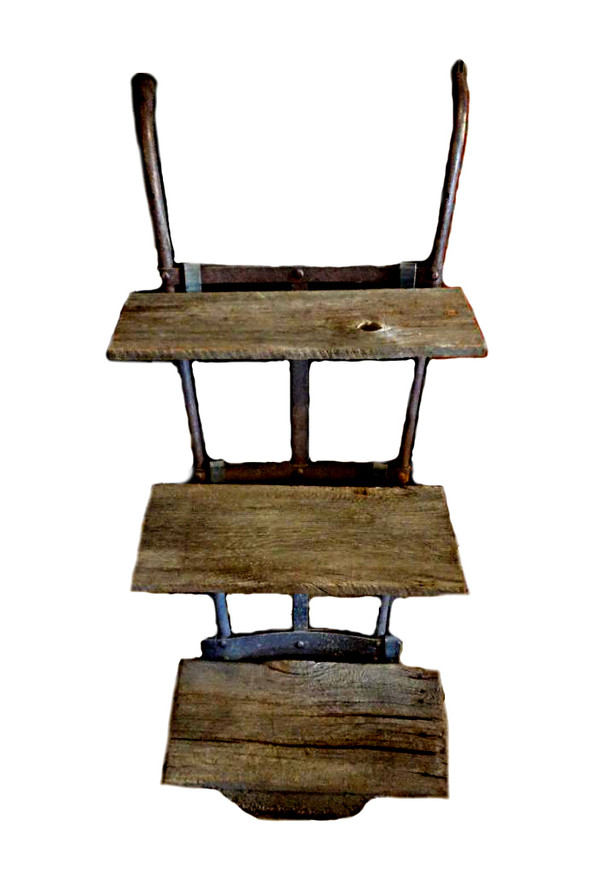 Vintage Handcart Shelves with Barn Wood