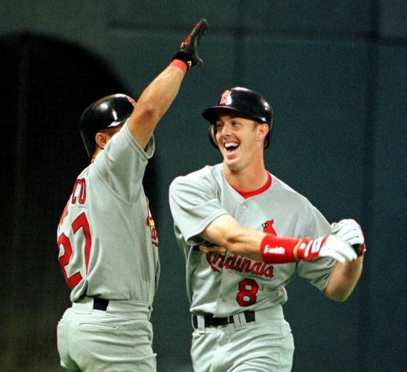 Chris high fives after first Major League home run