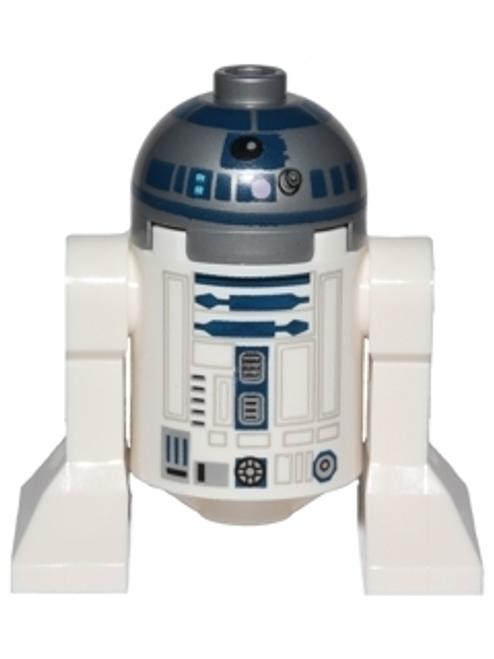 SW0527A LEGO® R2-D2 (Flat Silver Head, Dark Blue Printing, Lavender Dots, Small Receptor)
