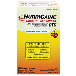 Hurricaine Snap-Go-Swabs .15ml 72/Bx