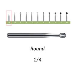 Carbide Burs. FG-1/4 Short Shank Round. 10 pcs.