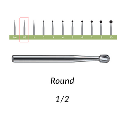 Carbide Burs. FG-1/2 OS Round. 10 pcs.