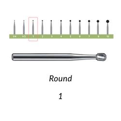Carbide Burs. FG-1 OS Round. 10 pcs.