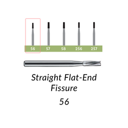 Carbide Burs. FG SS-56 Short Shank Straight Flat-End Fissure. 10 pcs.