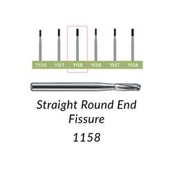 Carbide Burs. FG-1158 Straight Round End Fissure. 10 pcs.