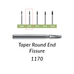 Carbide Burs. FG-1170-L Taper Round End Fissure. 10 pcs.