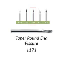 Carbide Burs. FG-1171-L Taper Round End Fissure. 10 pcs.