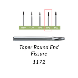 Carbide Burs. FG-1172 Taper Round End Fissure. 10 pcs.