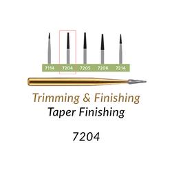 Carbide Burs. FG-7204 T&F 12-blades Taper Finishing. 10 pcs.