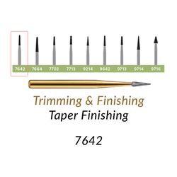 Carbide Burs. FG-7642 T&F 12-blades Taper Finishing. 10 pcs., Extra Long Taper