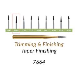 Carbide Burs. FG-7664 T&F 12-blades Taper Finishing. 10 pcs., Extra Long Taper