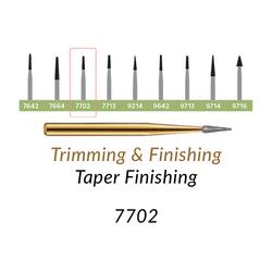 Carbide Burs. FG-7702 T&F 12-blades Taper Finishing. 10 pcs.