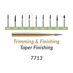 Carbide Burs. FG-7713 T&F 12-blades Taper Finishing. 10 pcs.