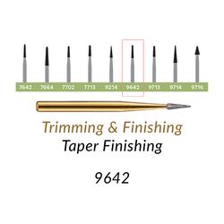 Carbide Burs. FG-9642 T&F 30-blades Taper Finishing. 10 pcs., Extra Long Taper
