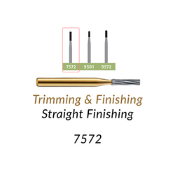 Carbide Burs. FG-7572 12 blades, Straight Finishing T&F, 10 pcs.