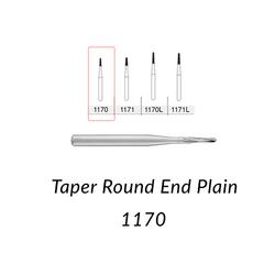 Carbide Burs. FG-1170 Short Shank Taper Round End Plain. 10 pcs.