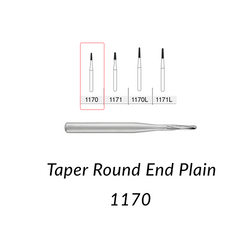 Carbide Burs. FG-1170 Short Shank Taper Round End Plain. 10 pcs.