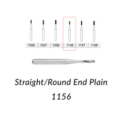 Carbide Burs. FG-1156 Straight Round End Plain. Clinic Pack of 100 pcs/bag