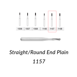 Carbide Burs. FG-1157 Short Shank  Straight Round End Plain. 10 pcs.