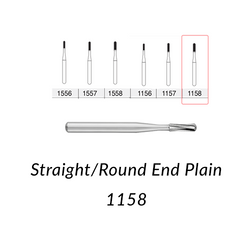 Carbide Burs. FG-1158 Short Shank  Straight Round End Plain. Clinic Pack of 100 pcs/bag
