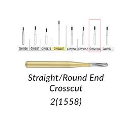 Great White Burs. GW2(1558) Straight/Round End Crosscut 100 pcs/bag