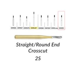 Great White Burs. GW2S Straight/Round End Crosscut 100 pcs/bag