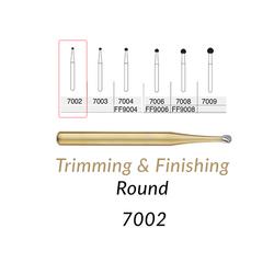 Carbide Burs. FG-7002 12 Blades Round Trimming & Finishing. 5 pcs.