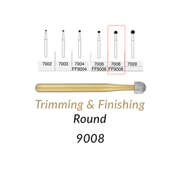 Carbide Burs. FG-9008 30 Blades FF Round Trimming & Finishing. 5 pcs.