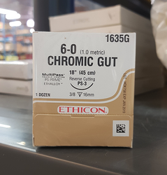 "Ethicon Sutures. Chromic Gut. 1635G 18"" 6-0 PS-3 Cutting 12/Box"