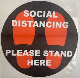 "Social Distancing 12"" Self Adhesive Floor Sticker 10/PK"