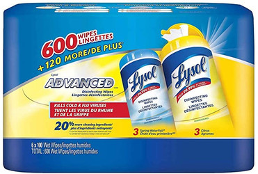 Lysol Advanced Disinfecting Wipes, 6 Packs Of 100 Wipes, Citrus & Spring Waterfall - Total 600 Wipes