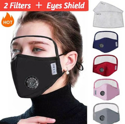 Protective Breathing Valve Face Mask With Eyes Shield + 2 Filters