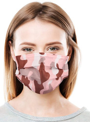 Daily Protective Camo Pink Ear Loop Masks 50/Box