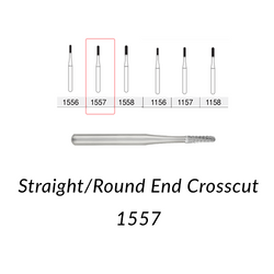 Carbide Burs. FG-1557 Straight Round End Crosscut. 10 pcs.