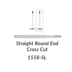 Carbide Burs. FG-1558-SL Straight Round End Crosscut. 5 pcs.