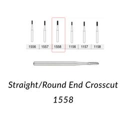 Carbide Burs. FG-1558 Straight Round End Crosscut. 10 pcs.