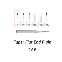 Carbide Burs. FG-169, Taper Flat End Plain. 10 pcs.