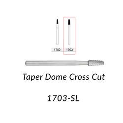 Carbide Burs. FG-1703-SL Taper Dome Crosscut. 5 pcs.