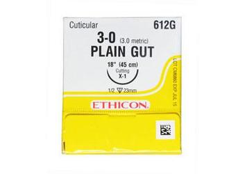 "Ethicon Sutures. Plain Gut. 612G 3-0 X-1 18"" 12/Box"