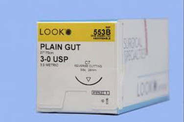 Suture C-7 3-0 Plain Gut 27in 12/Bx